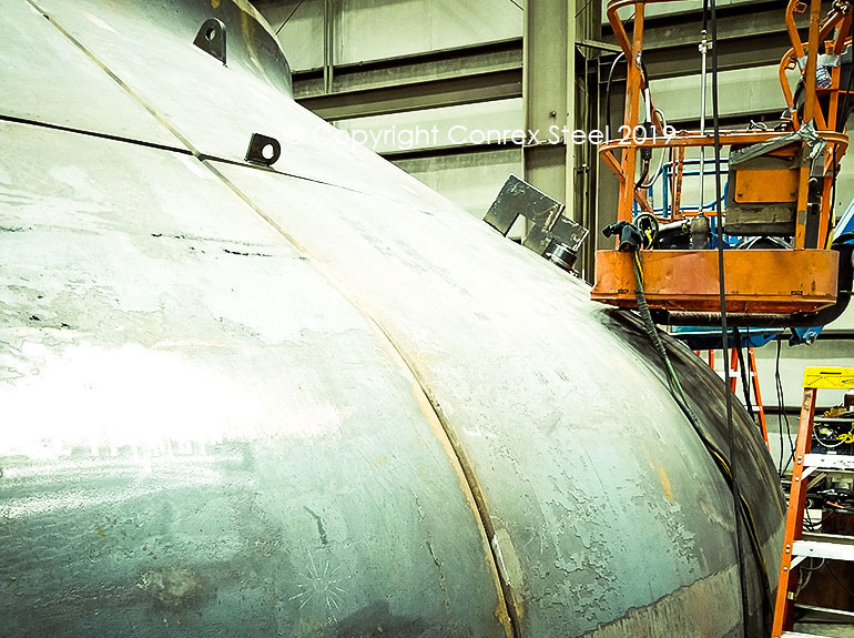 Segmental Tank HeadSegmental head trial fitting being carried out at Conrex Steel facility