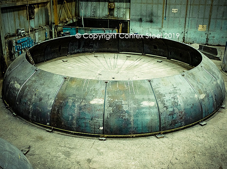 Segmental tank head being trial fitted out at Conrex Steel facility