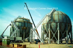 Sphere fabricated in field made in segments formed by Conrex Steel.