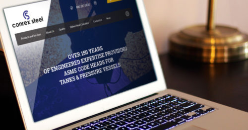 New Conrex Steel Ltd website on laptop