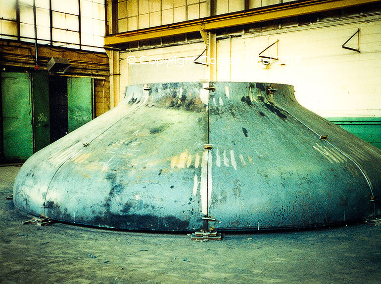 Segmented Conical tank head being trial fitted