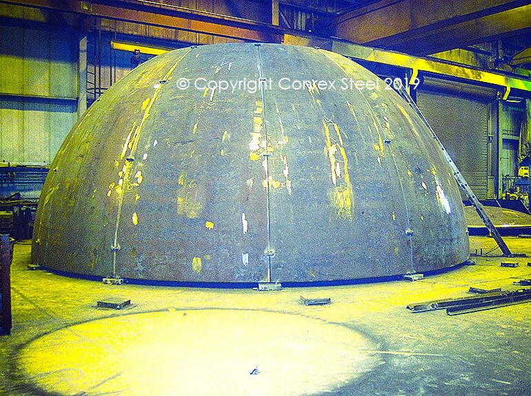Hemispherical segmental head trial fitting being carried out at Conrex Steel facility