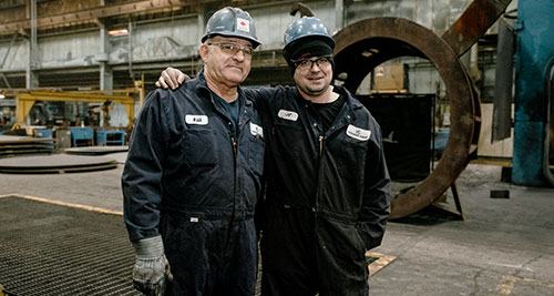 Bill with 52 years of Service at Conrex Steel and JP with 1 year of service. Join the Conrex Steel Team.