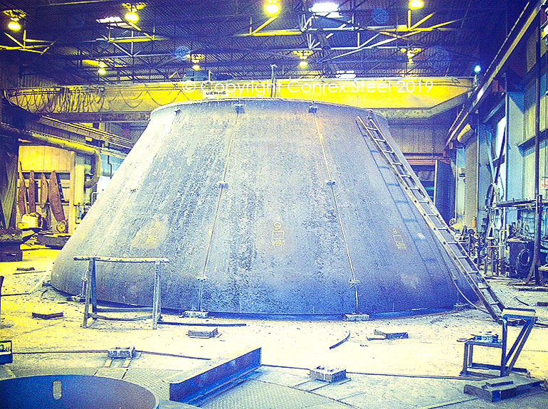 Conical segmental head trial fitting being carried out at Conrex Steel facility